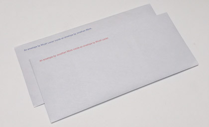 An Envelope by Micah Lexier inside an envelope by Jonathan Monk