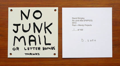 No Junk Mail by David Shrigley